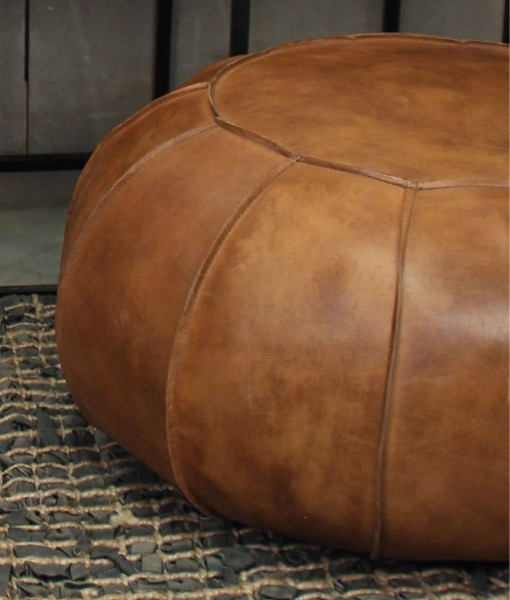 Vintage brown leather pouffe